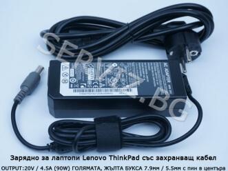 Зарядно за лаптоп Lenovo Thinkpad / IBM - 90W - заместител